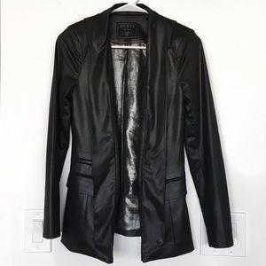 GUESS || Black Faux Leather Blazer